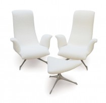 Pair of mod.503 armchairs and ottoman