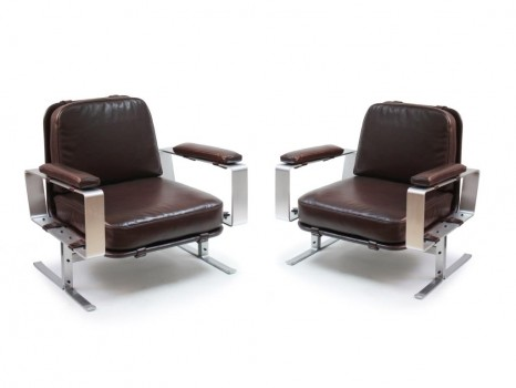 Pair of leather armchair for Chamber of Deputies
