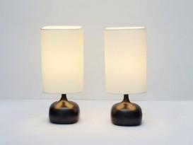 Pair of black ceramic table lamps
