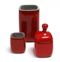 3 red ceramics