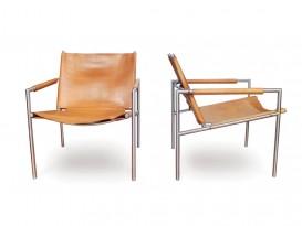 Pair of mod. SZ02 armchairs