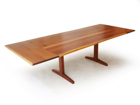 Large free edge Trestle table with 2 leaves