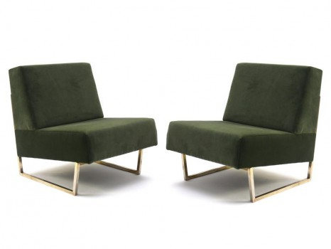Pair of brass Courchevel low chairs