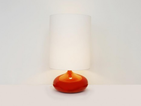 Large orange ceramic table lamp