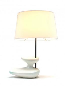 White Navette ceramic lamp