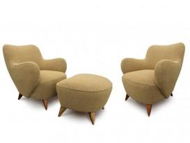 Paire de fauteuils Barrel mod.100A et ottoman