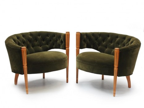 Pair of regency lounge chairs