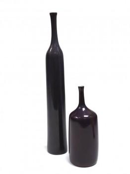 2 purple ceramic bottles