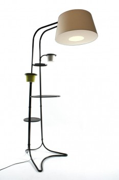 Floor lamp with ceramic planters